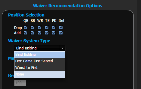 Lineup & Waiver Tools - Full Waiver System Support